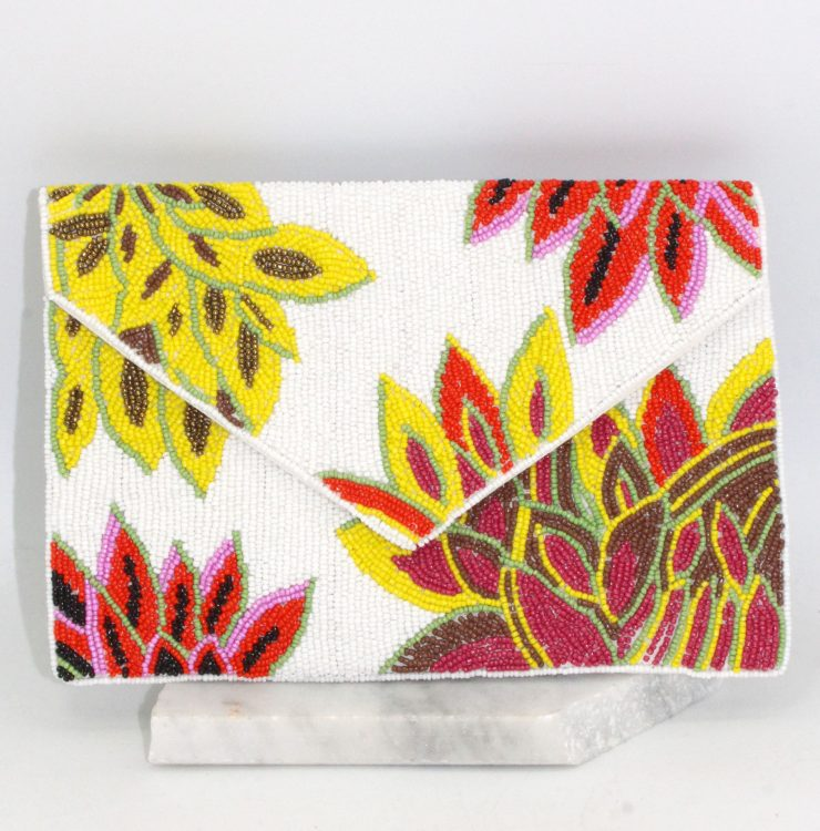 A photo of the Funky Flowers Beaded Clutch product
