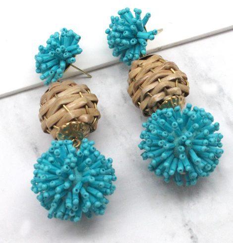 A photo of the Honeycomb Earrings in Blue product