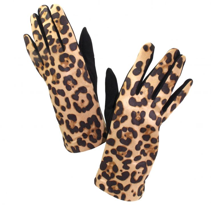 A photo of the Leopard Lady Gloves in Tan product