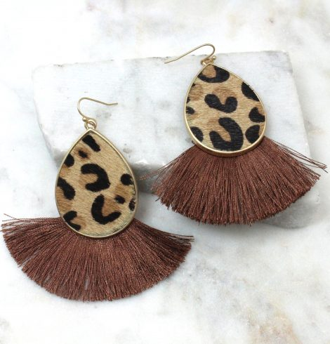 A photo of the Leopard Mama Earrings in Brown product
