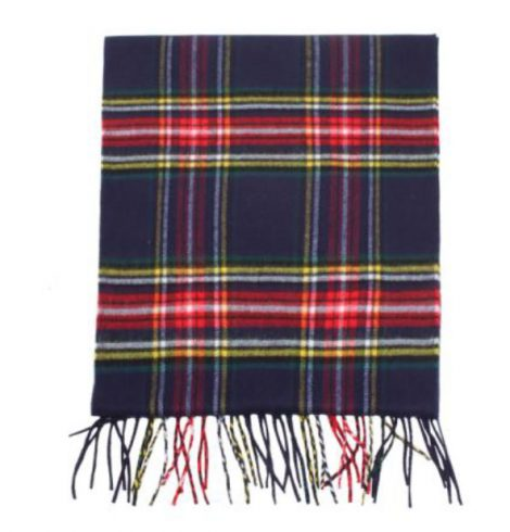A photo of the Navy Plaid Cashmere Feel Scarf product
