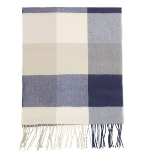 A photo of the Navy and Beige Squares Cashmere Scarf product