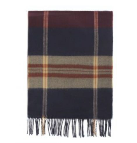 A photo of the Navy and Wine Plaid Cashmere Feel Scarf product