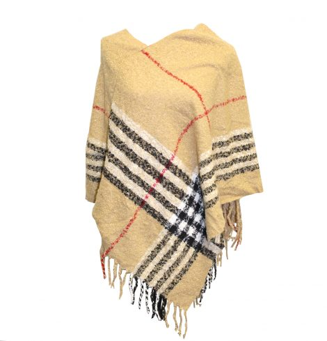A photo of the Plaid Fringe Poncho product