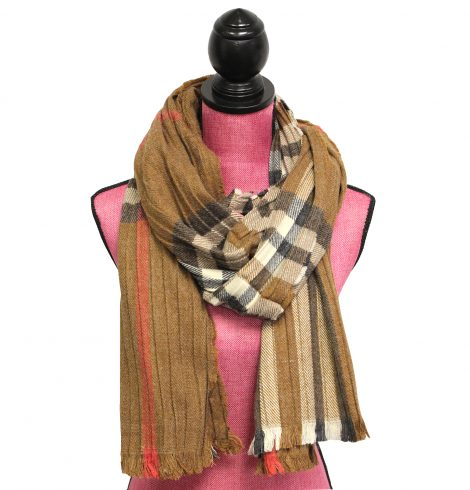 Plaid Pleated Scarf In Brown