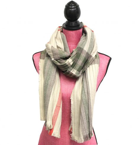 Plaid Pleated Scarf In Taupe