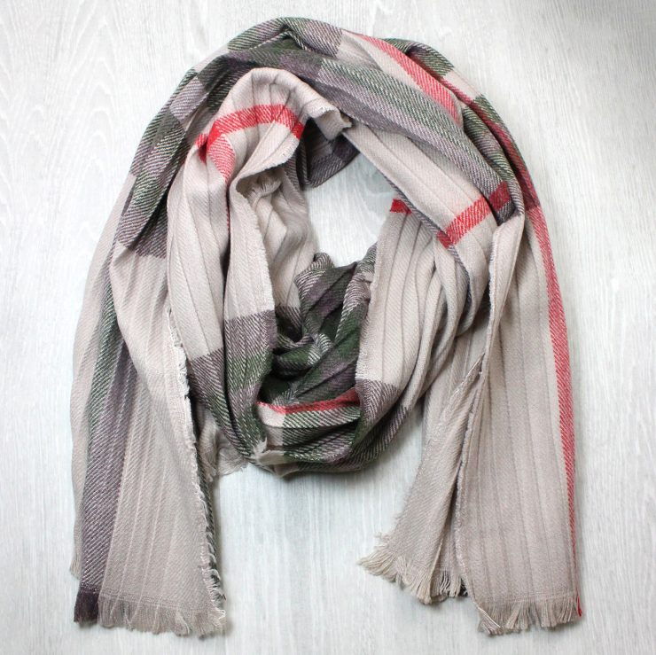 A photo of the Plaid Pleated Scarf In Taupe product