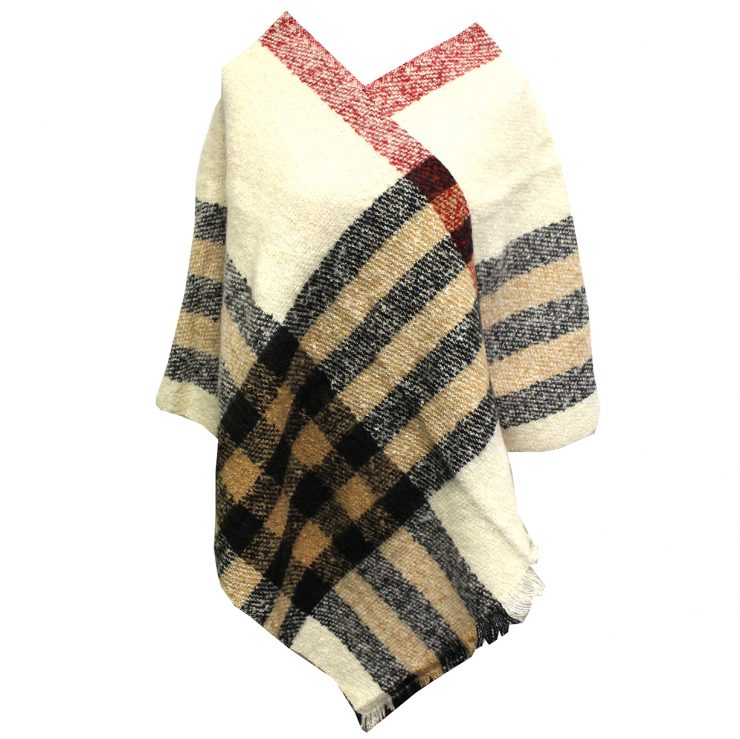 A photo of the Plaid Poncho in Ivory product