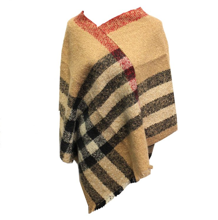 A photo of the Plaid Poncho in Brown product