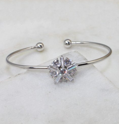 A photo of the Rhinestone Cluster Cuff Bracelet product