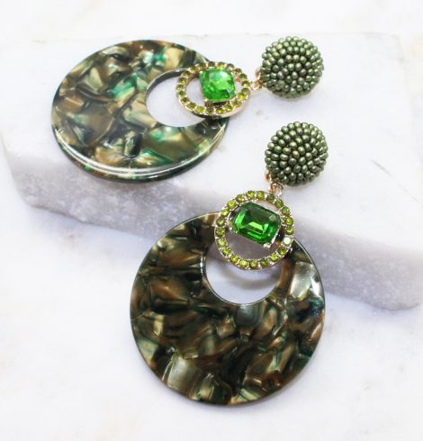 A photo of the Saskia Earrings In Olive product