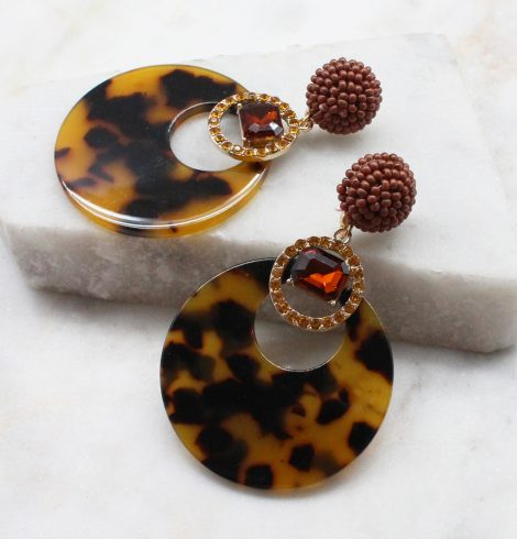 A photo of the Saskia Earrings In Tortoiseshell product