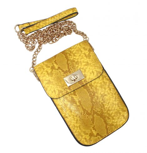 A photo of the Snake Skin Cross Body in Yellow product
