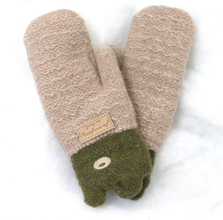 A photo of the Teddy Mittens in Khaki product