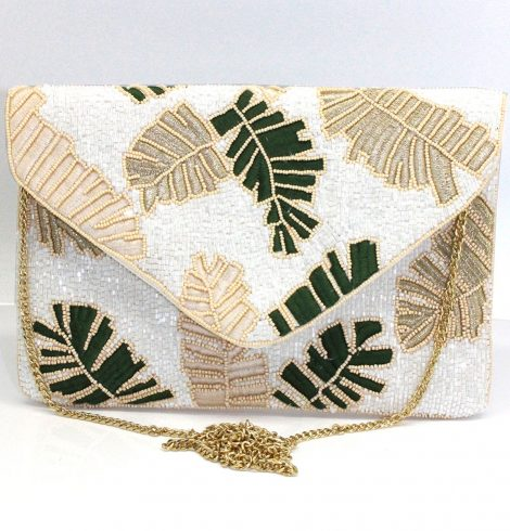 A photo of the Tropical Beaded Clutch in White product