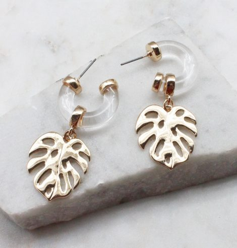 A photo of the Tropical Leaf Earrings product