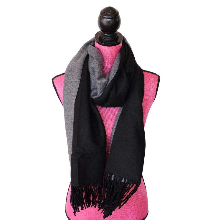 A photo of the Two Tone Scarf in Black and Grey product