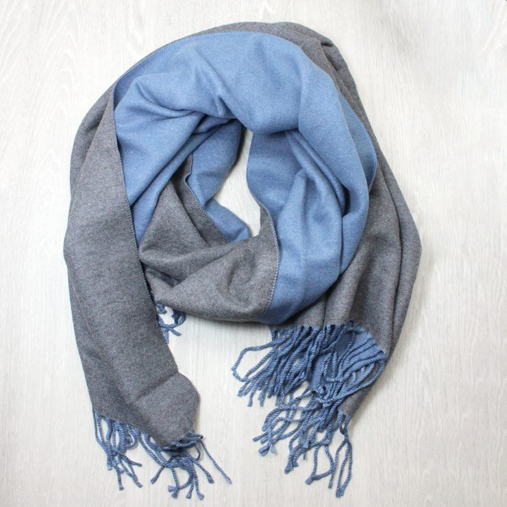 A photo of the Two Tone Scarf in Denim and Grey product
