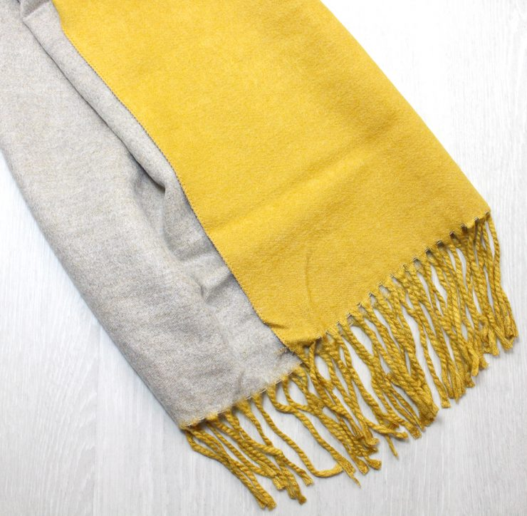 A photo of the Two Tone Scarf in Mustard and Grey product