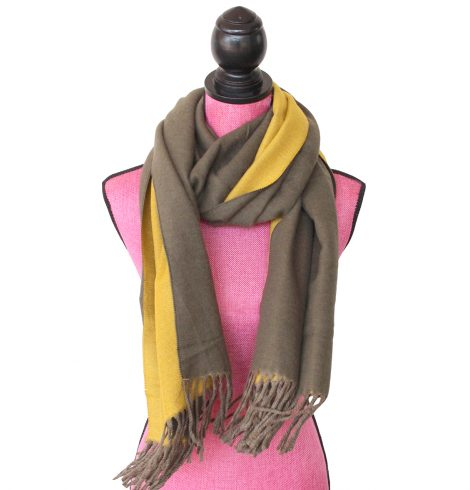 A photo of the Two Tone Scarf in Olive and Mustard product