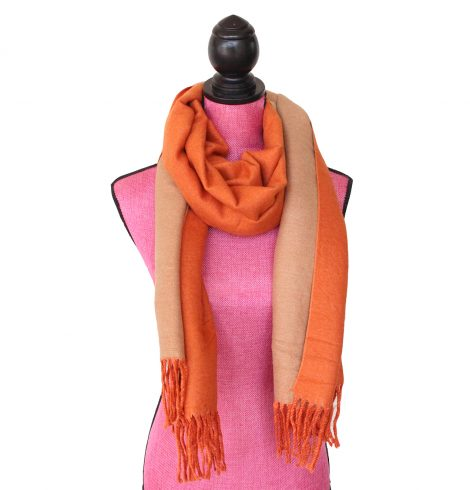 A photo of the Two Tone Scarf in Orange and Tan product