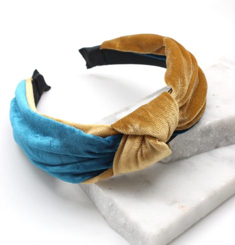 A photo of the Velvet Knot Headband in Teal & Gold product