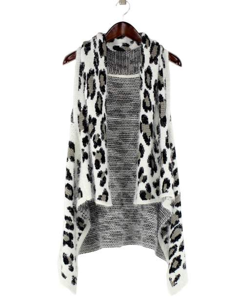 A photo of the White Leopard Eyelash Vest product