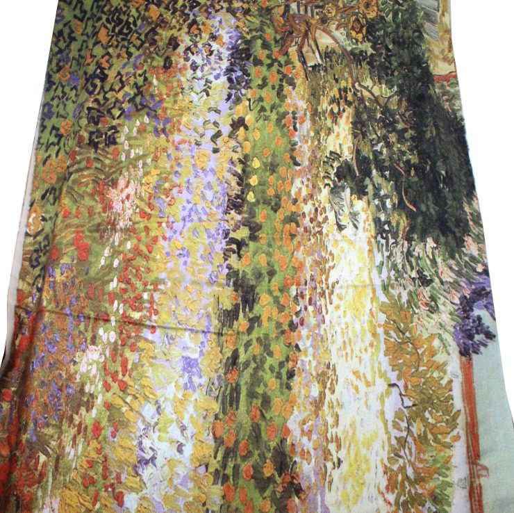A photo of the Warm Flowers Painting Scarf product