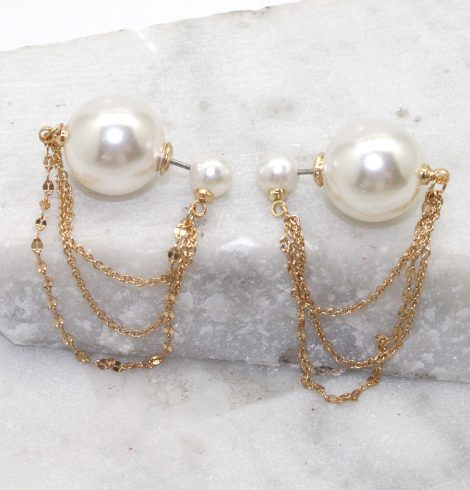 A photo of the Pearls and Chains Peek A Boo Earrings product