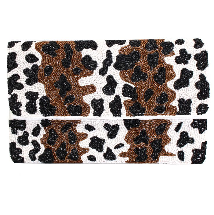 A photo of the Cheetah Print Beaded Clutch product