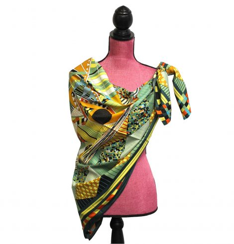 A photo of the Artsy Design Silk-Feel Scarf product