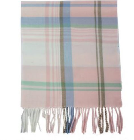 A photo of the Baby Pink Plaid Cashmere Feel Scarf product