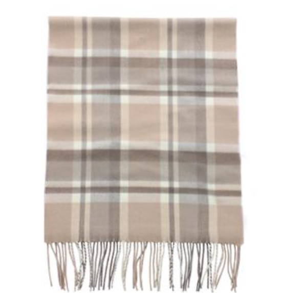 A photo of the Beige Plaid Cashmere Feel Scarf product