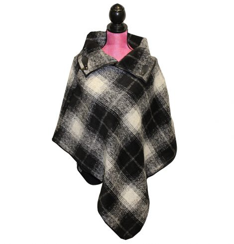 A photo of the Black and White Plaid Poncho product