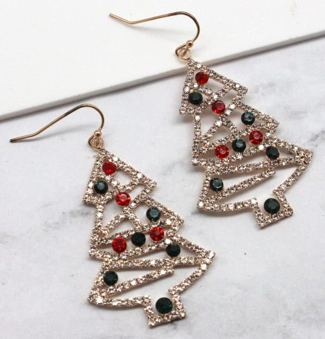 A photo of the Rhinestone Christmas Tree Earrings product
