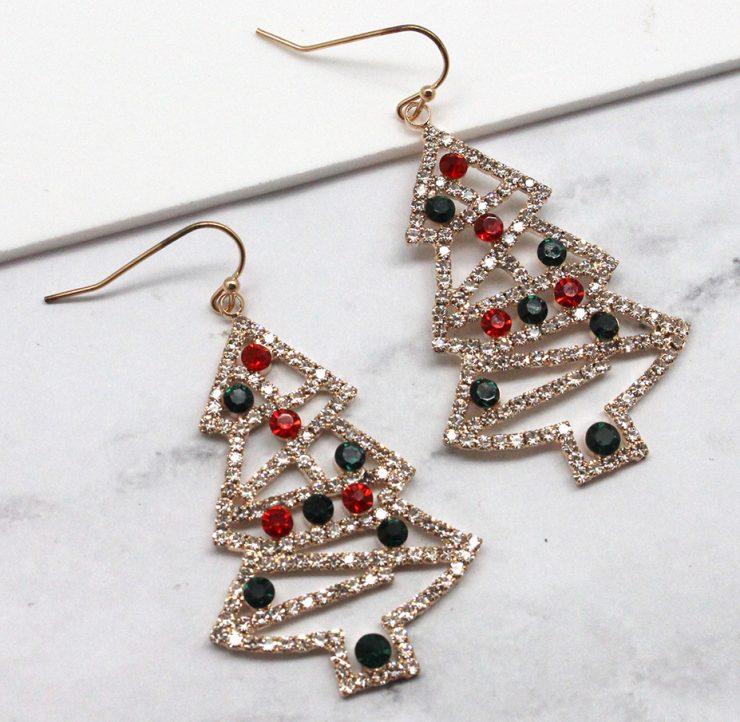 A photo of the Rhinestone Christmas Tree Earrings product