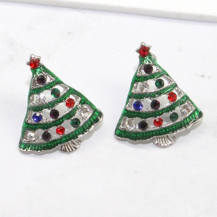 A photo of the Christmas Tree Lights Earrings product