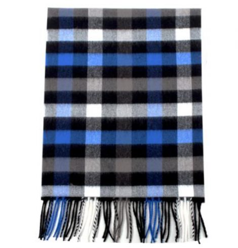 A photo of the Buffalo Check Cashmere Feel Scarf in Cobalt product