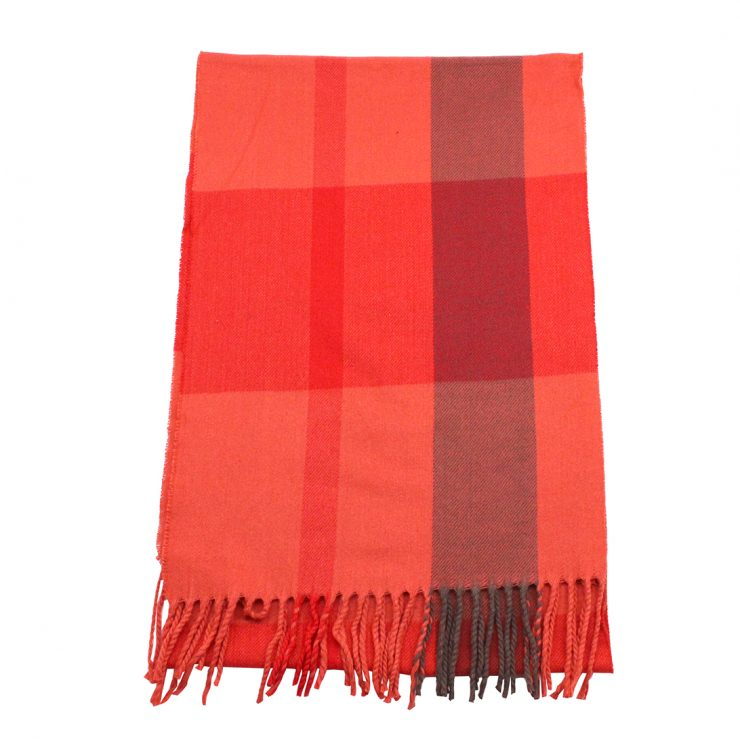 A photo of the Coral Plaid Cashmere Feel Scarf product
