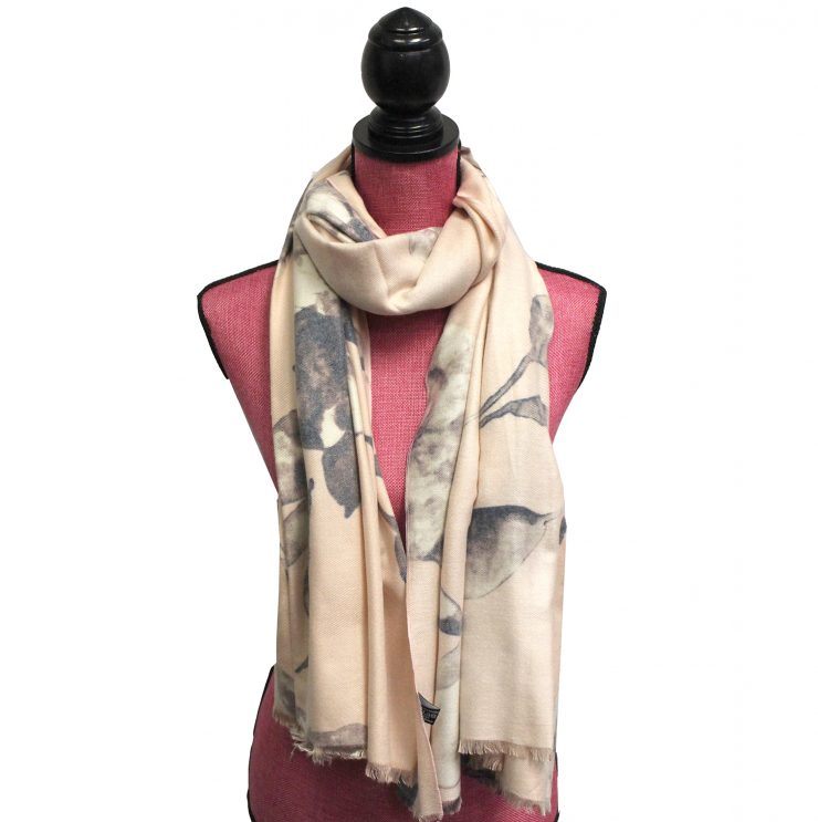 A photo of the Flowerly Cashmere Blend Scarf in Grey product