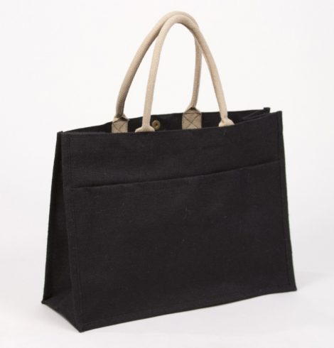 A photo of the Jute Pocket Tote in Black product
