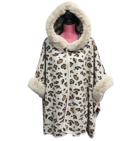 A photo of the Leopard Cape Sweater product