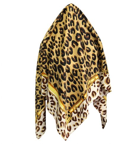 A photo of the Leopard Silk-Feel Scarf product