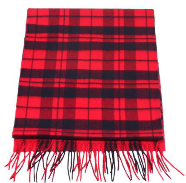 A photo of the Navy and Red Tartan Cashmere Feel Scarf product