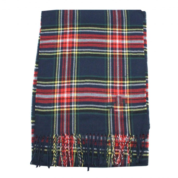 A photo of the Navy Yellow Plaid Cashmere Feel Scarf product