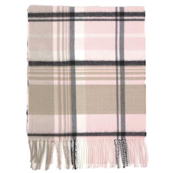 A photo of the Pink Crisp Plaid Cashmere Feel Scarf product