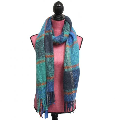 A photo of the Preppy Plaid Scarf in Blue, Teal & Orange product