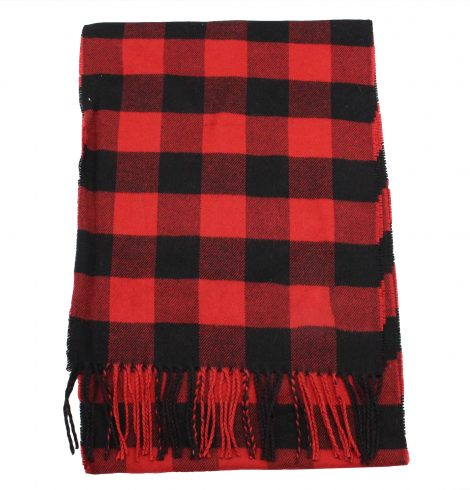 A photo of the Black and Red Buffalo Check Cashmere Feel Scarf product