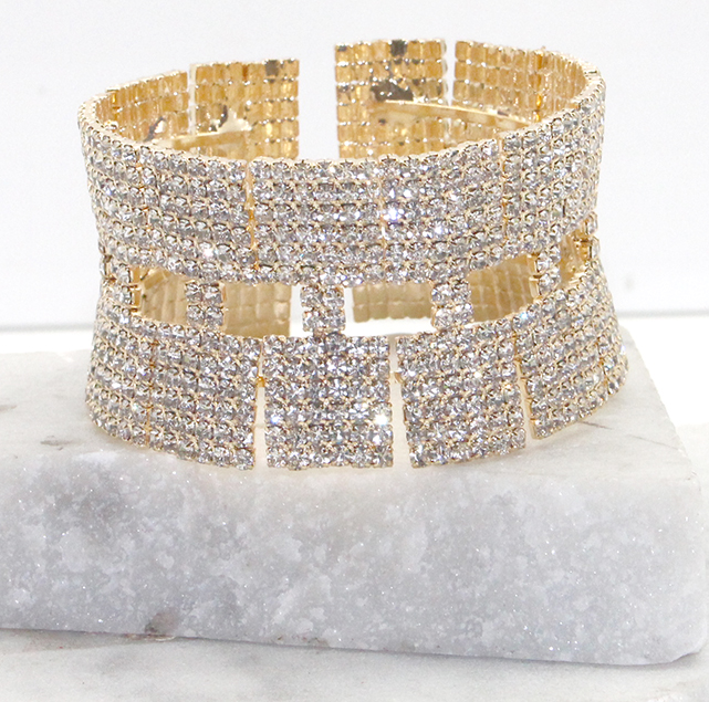 A photo of the Rhinestone Perfection Cuff Bracelet in Silver product