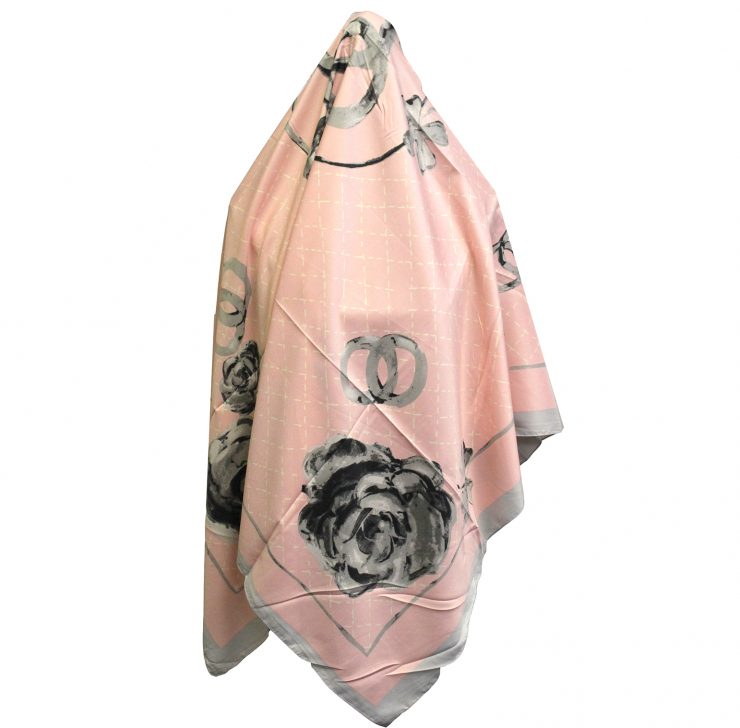 A photo of the Roses and Rings Silk-Feel Scarf product